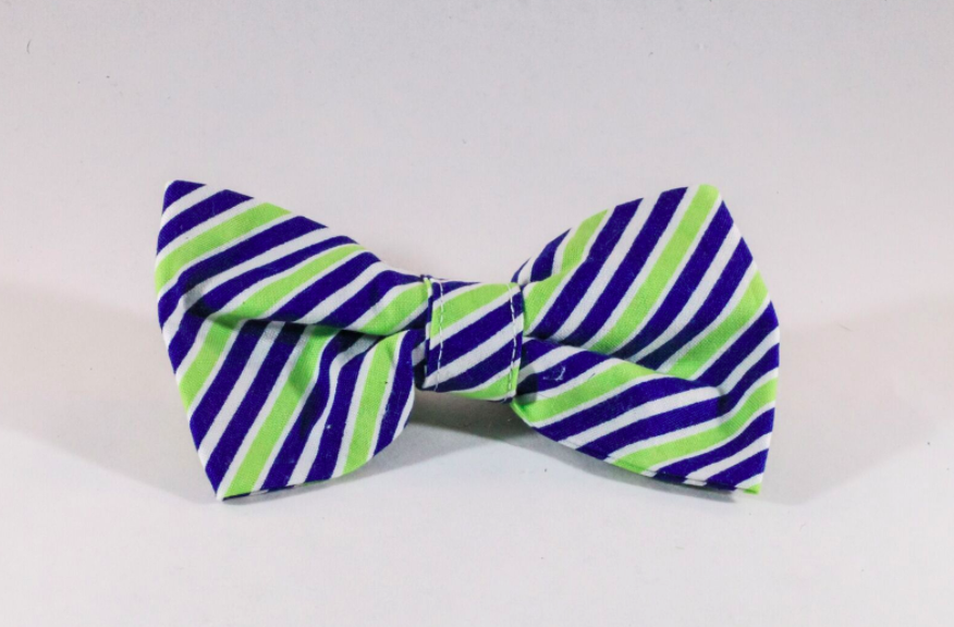 Navy Blue and Lime Dog Bow Tie