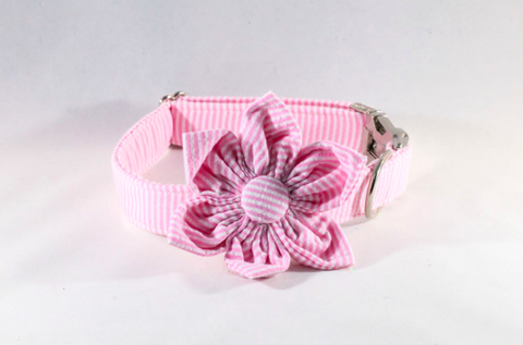 Preppy Pink Seersucker Girl Dog Flower Bow Tie Collar