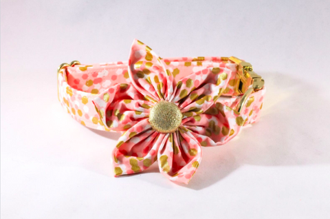 Champagne Pop Pink and Gold Polka Dot Girl Dog Flower Bow Tie Collar
