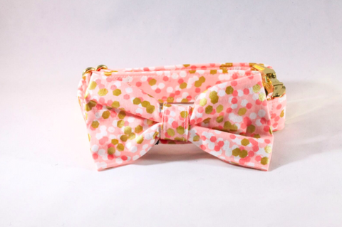 Champagne Pop Pink and Gold Polka Dot Dog Bow Tie Collar--Valentine's Day