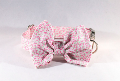 Pink Posy Floral Girl Dog Bow Tie Collar