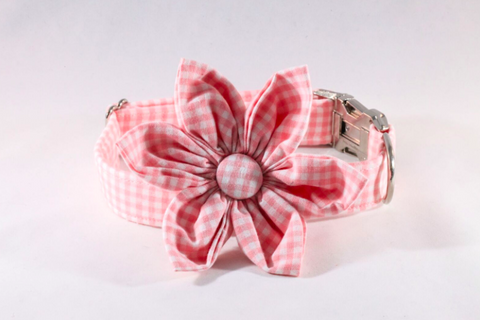 Preppy Pink Gingham Girl Dog Flower Bow Tie Collar