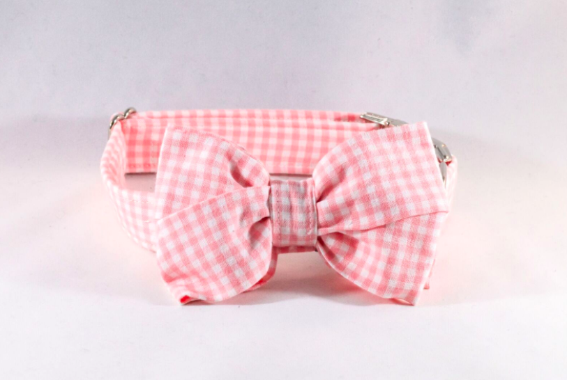 Preppy Pink Gingham Girl Bow Tie Dog Collar