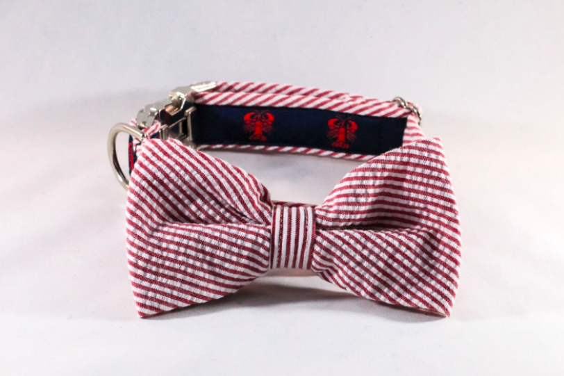Preppy Seersucker Lobster Bow Tie Dog Collar