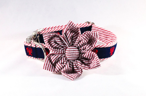Preppy Seersucker Lobster Girl Dog Flower Bow Tie Collar
