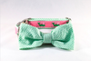 Seersucker Pink and Green Nantucket Whale Bow Tie Dog Collar