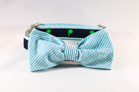 Seersucker Palmetto Palm Tree Dog Bow Tie Collar