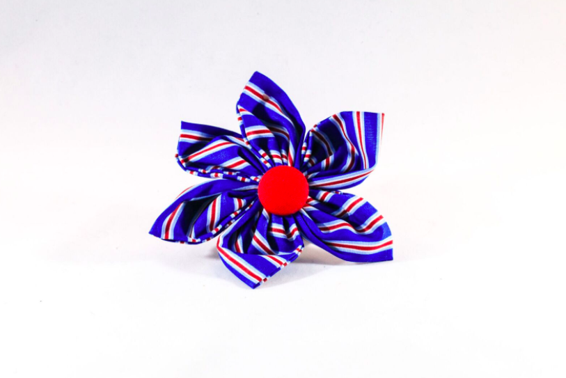 Preppy Red White and Blue Patriotic Stripes Girl Dog Flower Bow Tie