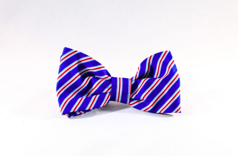 Preppy Red White and Blue Patriotic Stripes Dog Bow Tie