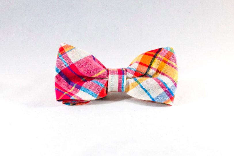 Preppy Pink and Orange Madras Dog Bow Tie