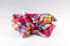 Preppy Pink and Orange Madras Girl Dog Bow Tie Collar