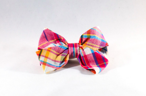 Preppy Pink and Orange Madras Girl Dog Bow Tie