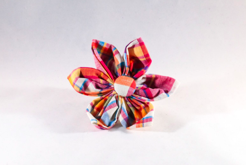 Preppy Pink and Orange Madras Girl Dog Flower Bow Tie