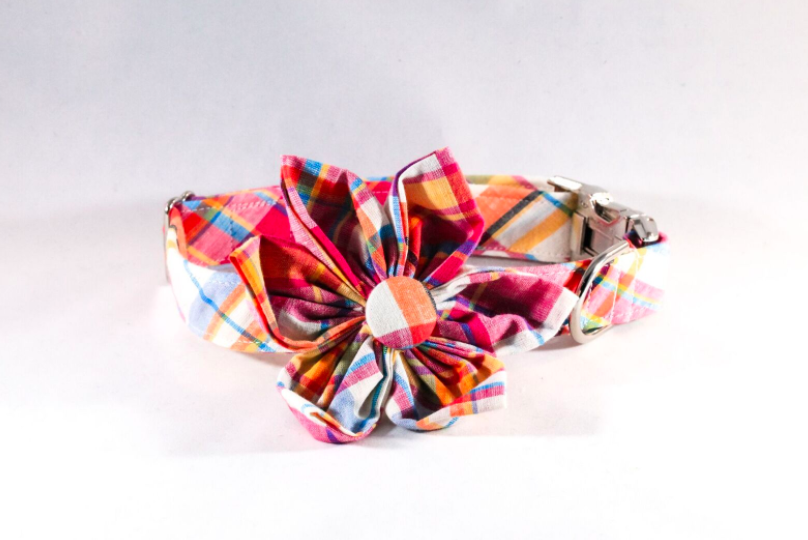 Preppy Pink and Orange Madras Girl Dog Flower Bow Tie Collar