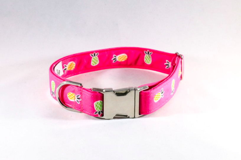 Pink Pineapple Girl Dog Collar