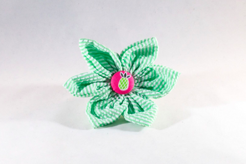 Pink and Green Seersucker Pineapple Girl Dog Flower Bow Tie