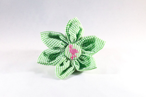 Preppy Green and Pink Flamingo Seersucker Girl Dog Flower Bow Tie