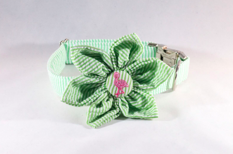 Preppy Green and Pink Flamingo Seersucker Girl Dog Flower Bow Tie Collar