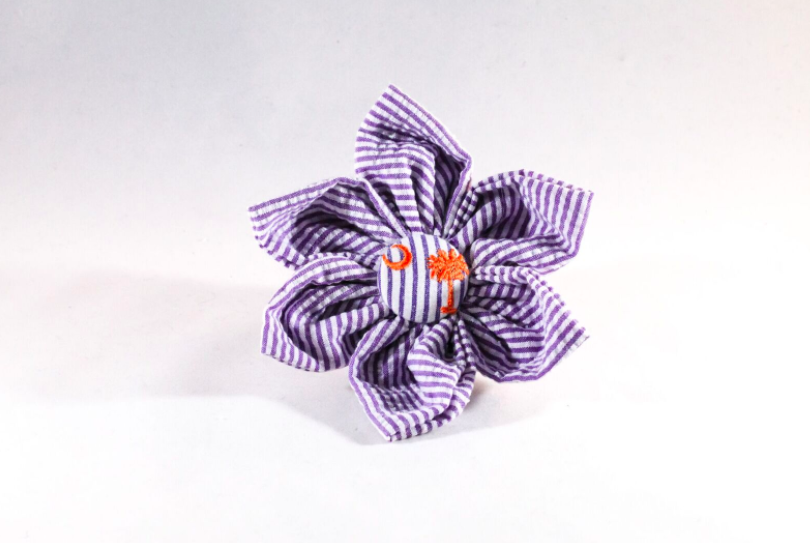 Preppy Purple and Orange Clemson Tigers Seersucker Girl Dog Flower Bow Tie