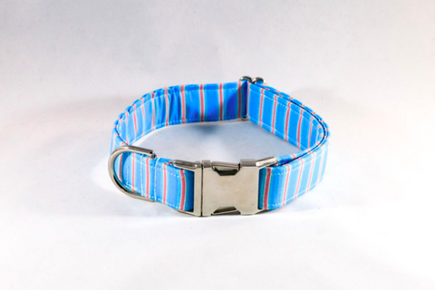 Preppy Aqua and Coral Seaside Stripes Dog Collar