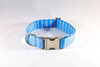 Preppy Aqua and Coral Seaside Stripes Girl Dog Flower Bow Tie Collar