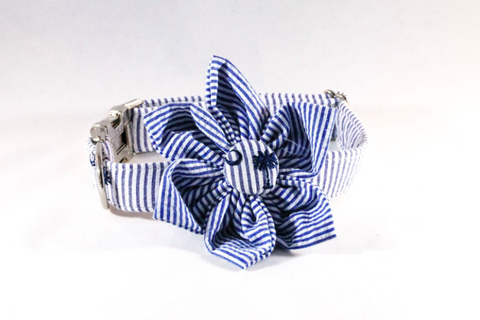 Preppy Navy Blue Palmetto Palm Tree Seersucker Girl Dog Flower Bow Tie Collar