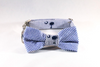 Preppy Navy Blue Palmetto Palm Tree Seersucker Dog Bow Tie Collar