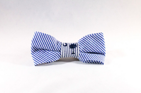Preppy Navy Blue Palmetto Palm Tree Seersucker Dog Bow Tie