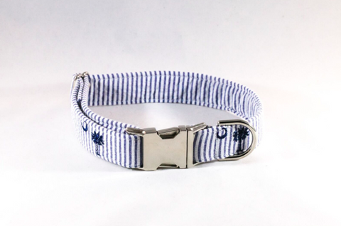 Preppy Navy Blue Palmetto Palm Tree Seersucker Dog Collar
