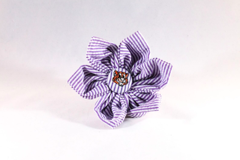 Preppy Purple and Gold LSU Tiger Seersucker Girl Dog Flower Bow Tie