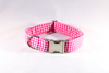 Preppy Hot Pink Gingham Girl Dog Flower Bow Tie Collar