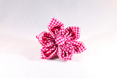 Preppy Hot Pink Gingham Girl Dog Flower Bow Tie