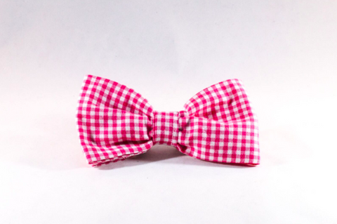 Preppy Hot Pink Gingham Dog Bow Tie