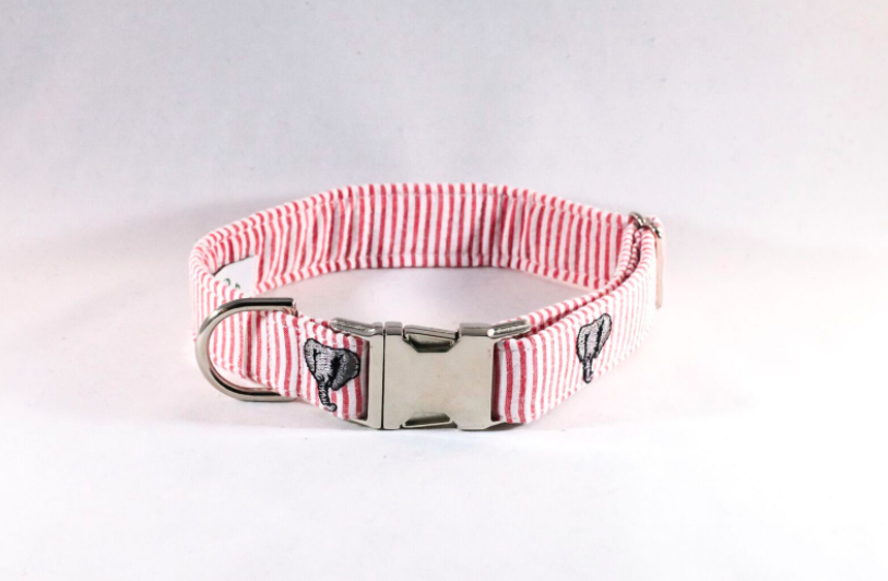Crimson Tide Alabama Seersucker Dog Collar