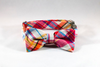 Preppy Pink and Orange Madras Dog Bow Tie Collar