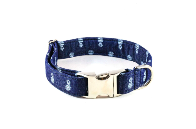 Preppy Blue Denim Pineapple Dog Collar