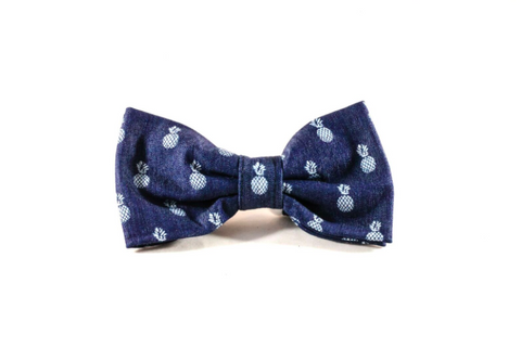 Preppy Blue Denim Pineapple Dog Bow Tie