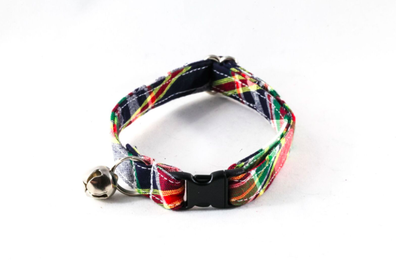 Preppy Navy Blue Madras Kitty Cat Collar