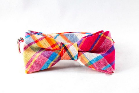 Preppy Pink and Orange Madras Bow Tie Kitty Cat Collar