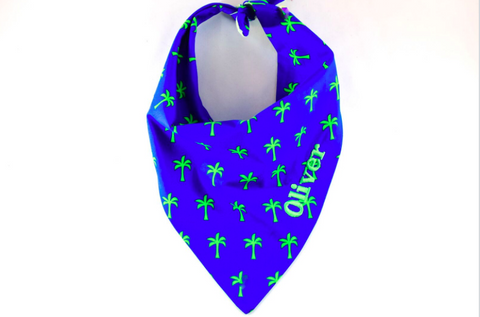Blue and Green Palms Monogrammed Dog Bandana