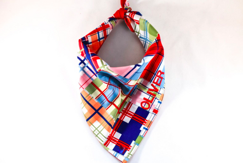Summer Red Multi Color Madras Monogrammed Dog Bandana