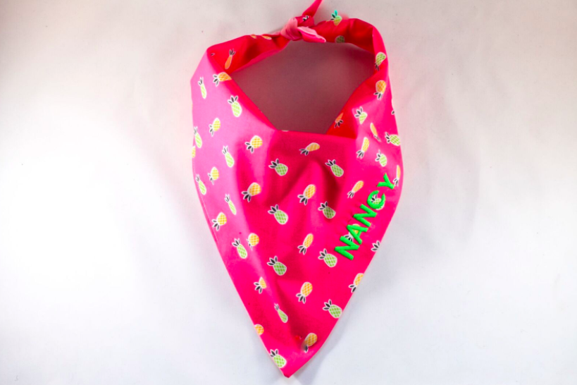 Pink Pineapple Monogrammed Dog Bandana
