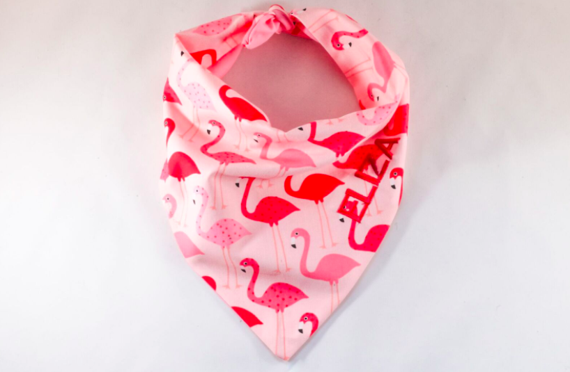 Fancy Pink Flamingos Monogrammed Dog Bandana