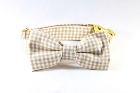 Preppy Khaki Gingham Dog Bow Tie Collar