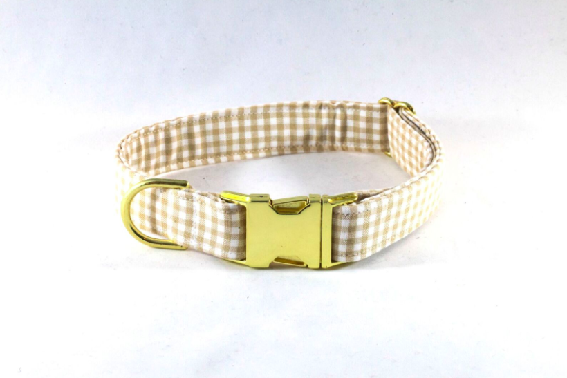 Preppy Khaki Gingham Dog Collar