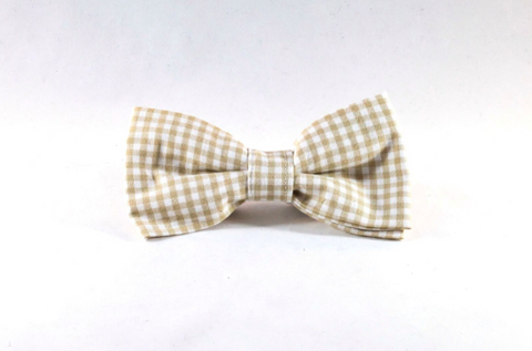 Preppy khaki Gingham Dog Bow Tie