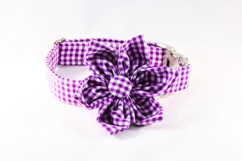Preppy Purple Gingham Girl Dog Flower Bow Tie Collar