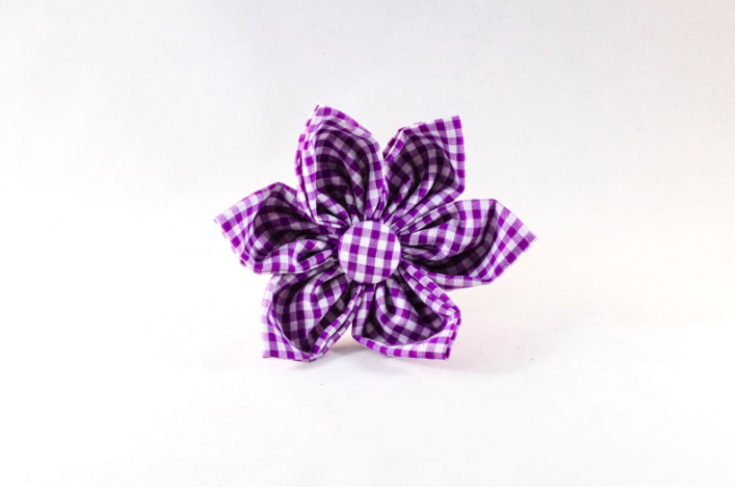 Preppy Purple Gingham Girl Dog Flower Bow Tie