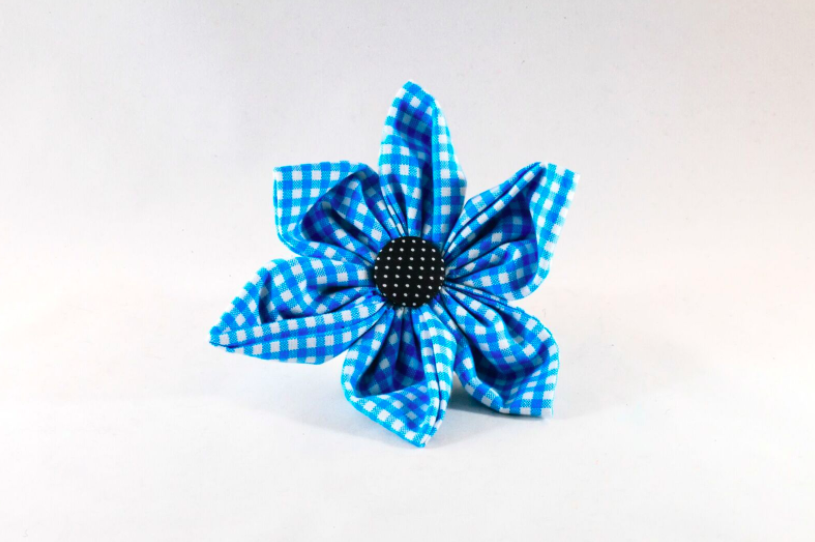 Carolina Panthers Blue and Black Gingham Girl Dog Flower Bow Tie