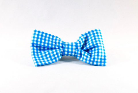 Preppy Aqua Blue Gingham Dog Bow Tie